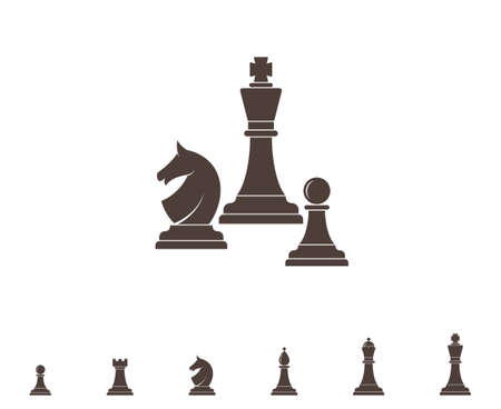 chess horse: Chess. Silhouette Illustration