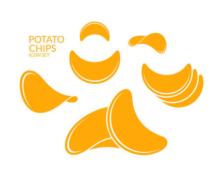isolated: Potato chips. Icon set