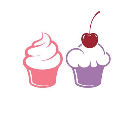 birthday cupcake: Cupcake. Icon set