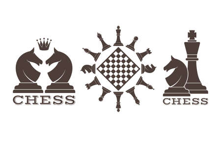 king and queen: Chess. Emblem Illustration