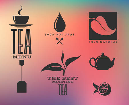 ceylon: Tea. Abstract icons and labels on smooth background