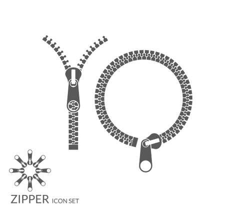 zipper: Zipper. Icon set Illustration