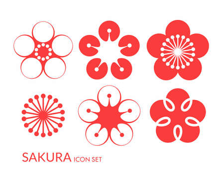 cherry: Cherry blossom. Sakura. Icon set Illustration