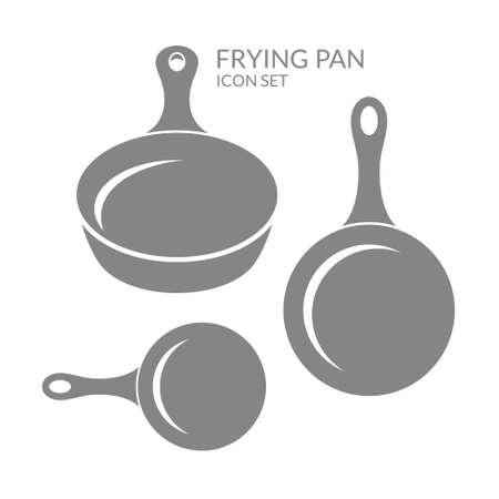 Frituurpan. Icon set