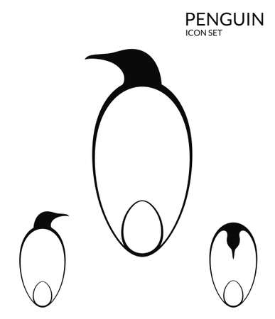 water bird: Penguin. Icon set