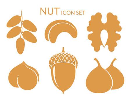 cashews: Nuts. Icon set. Isolated fruit on white background