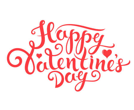valentine's day: Happy Valentines Day. Lettering. Greeting card
