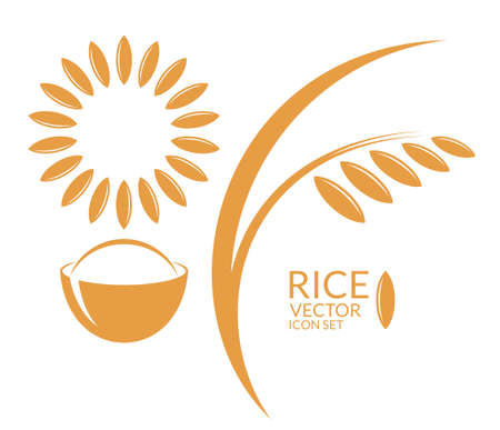 bowl of cereal: Rice. Icon set