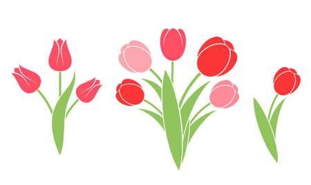 silhouette fleur: Bouquet de fleurs. Tulipe