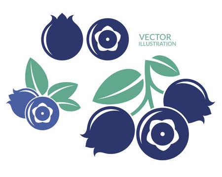 Blaubeere. Icon-Set