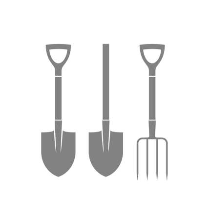 pitchfork: Shovel. Pitchfork. Icon set
