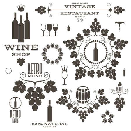 wine barrel: Wine. Barrel. Bottle. Wineglass Illustration