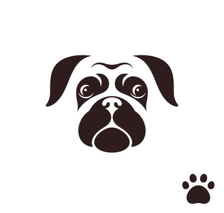 Pug dog. Funny face with paw print