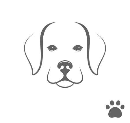 dog walker: Labrador dog. Puppy with paw print Illustration
