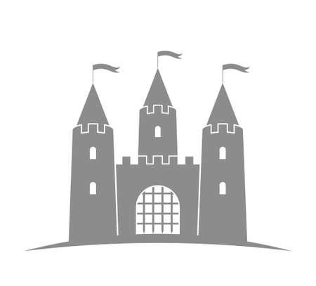 castello medievale: antico castello. edificio astratto su sfondo bianco Vettoriali