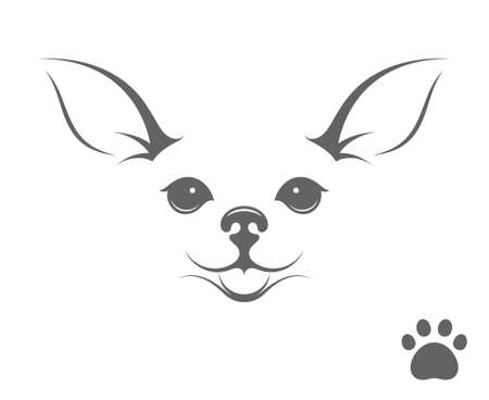 dog walker: Cute chihuahua dog. Happy puppy with paw print