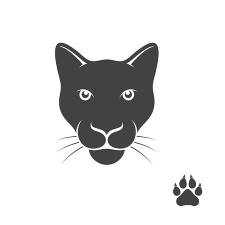 animal heads: Panther with paw print Illustration