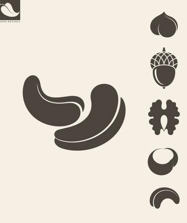 cashews: Nuts. Icon set. Hazelnut. Cashews. Walnut Illustration