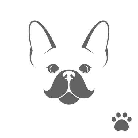 dog walker: French bulldog. Funny dog with paw print