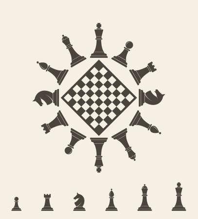 piece: Chess piece. Vector illustration