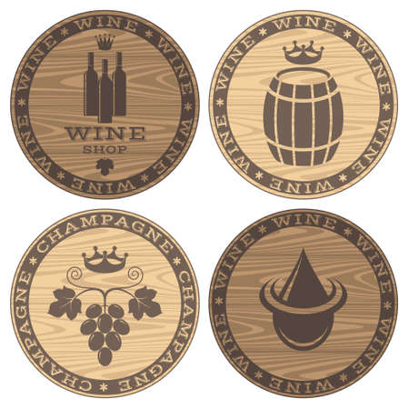 wooden circle: Wood barrels with wine on white background