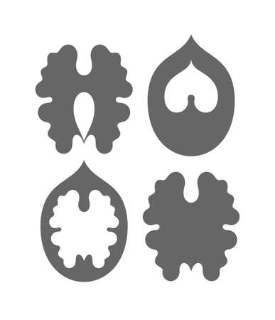 walnut: Walnut. Silhouette Illustration
