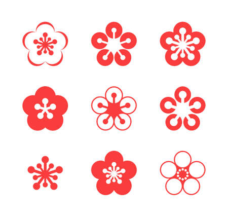 cherries isolated: Cherry blossom. Sakura. Icon set Illustration