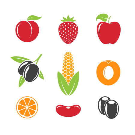Abstract fruit and vegetables  Vector illustration