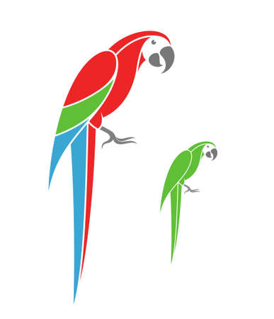 macaw: Macaw parrot and green parrot