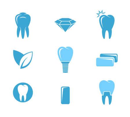 chewing: Dental hygiene. Icon set Illustration