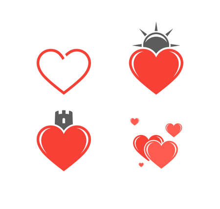 heart month: Abstract hearts. Icon set