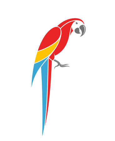 macaw: Red macaw. Tropical parrot on white background Illustration