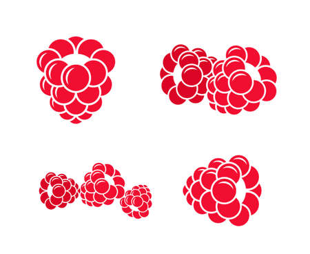 Raspberries. Icon set. Abstract raspberries on white background