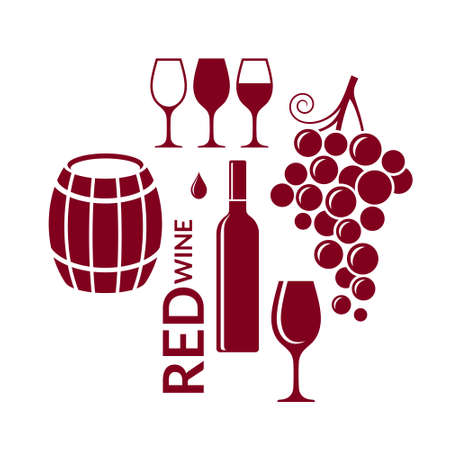 glass of red wine: Red wine. Icon set