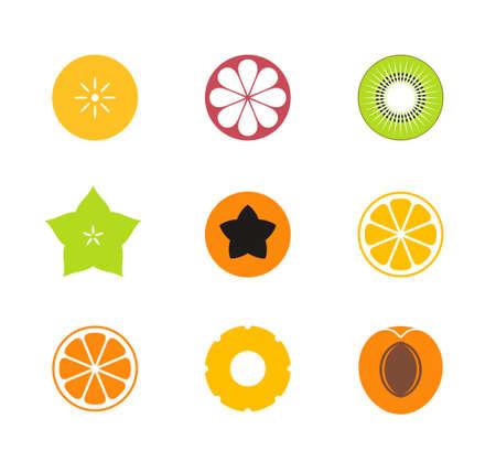 Cut fruit. Icon set