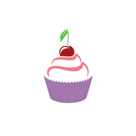 cupcakes isolated: Cupcake with cherry