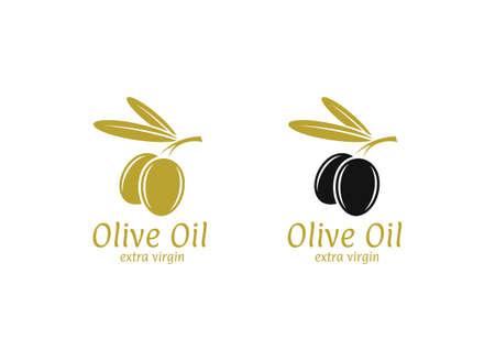 Olive oil logo on plain background. Vettoriali