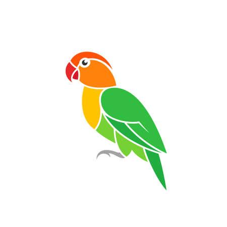 Green parrot. Lovebird. Exotic bird on white background