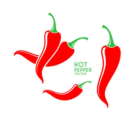Chili pepper. Red peppers on white background. Vector illustration Иллюстрация