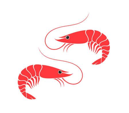 Prepared shrimps on white background Çizim