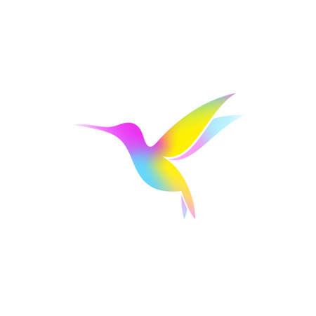 Hummingbird. Bright bird on white background. Vector illustration