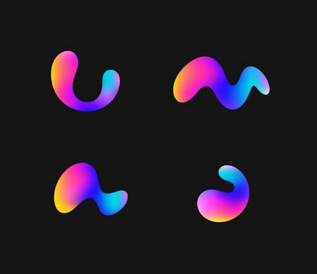 Fluorescent shapes. Icon set. Futuristic shapes on black background 向量圖像