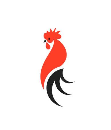 Roter Hahn mit schwarzem Schwanz.