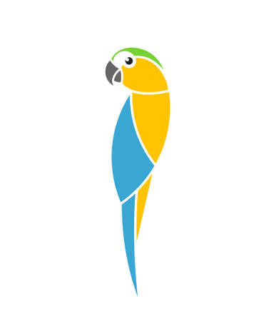 Blue and yellow macaw parrot. Tropical bird Иллюстрация