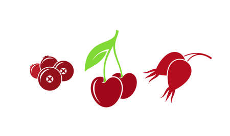 Red berries. Icon set. Isolated fruit on white