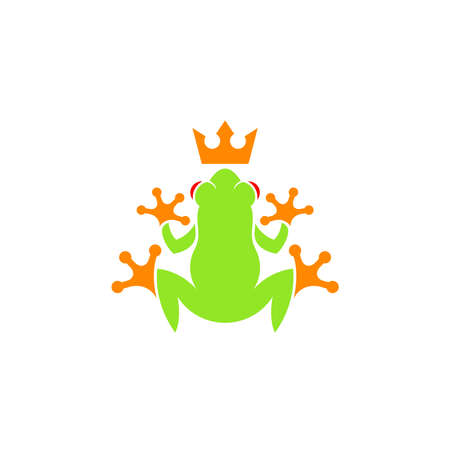 Tropical frog with crown on white