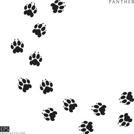 Panther paw prints. Silhouette