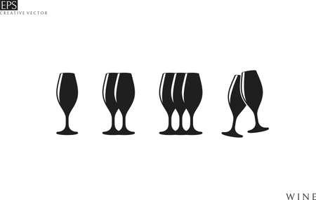 Champagne flute. Icon set Illustration