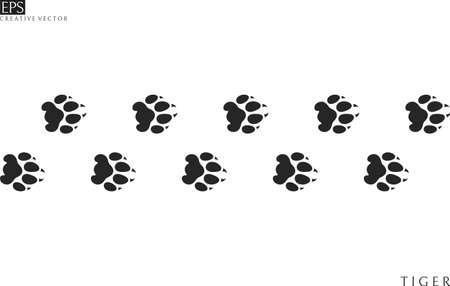 Tiger paw prints. Silhouette