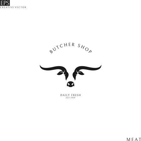 Butcher shop. Texas longhorn bull
